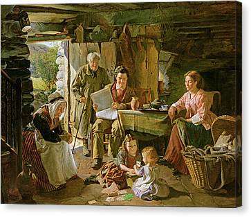 Cottage Interior, 1868 Oil On Canvas Canvas Print by William Henry Midwood