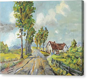 Cottage On Poplar Lane Canvas Print by Mary Ellen Anderson