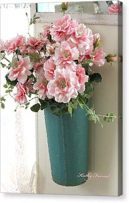 Cottage Shabby Chic Hanging Basket Pink Flowers Canvas Print by Kathy Fornal