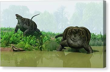 Cotylorhynchus Synapsids Canvas Print by Walter Myers