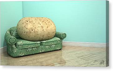 Couch Potato On Old Sofa Canvas Print by Allan Swart