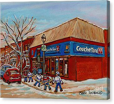 Couche Tard Rue Wellington Verdun Street Scene Montreal Hockey Art Carole Spandau Canvas Print by Carole Spandau