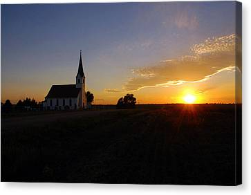 Country Church At Sunset  Canvas Print by Erin Theisen