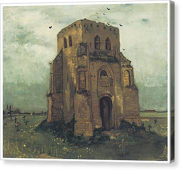 Country Churchyard And Old Church Tower Canvas Print by Vincent Van Gogh