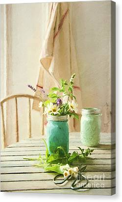 Country Kitchen With Wild Flowers In Jar/ Digital Painting Canvas Print by Sandra Cunningham