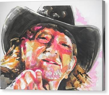 Country Music Artist...willie Nelson Canvas Print by Chrisann Ellis