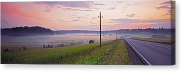 Country Road And Telephone Lines Canvas Print by Panoramic Images