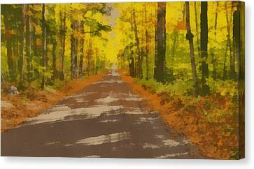 Country Road In Autumn Canvas Print by Dan Sproul