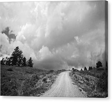 Country Road With Stormy Sky In Black And White Canvas Print by Julie Magers Soulen