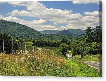 Country Roads Take Me Home Canvas Print by Lara Ellis