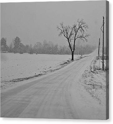 Country Winter Roads Canvas Print by Dan Sproul