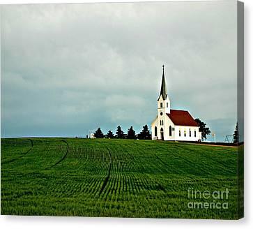 Country Zion Lutheran Church Across Nebraska Wheat Field Canvas Print by Erin Theisen