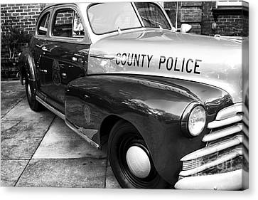 County Police In Black And White Canvas Print by John Rizzuto