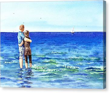 Couple And The Sea Canvas Print by Irina Sztukowski