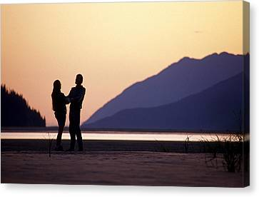 Couple  Sunset Turnagain Arm Sc Ak Canvas Print by Chris Arend
