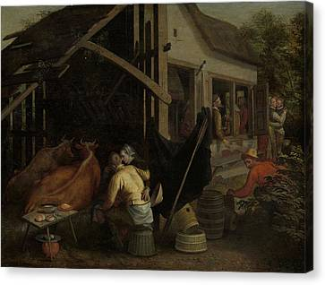 Couples Making Love At A Village Inn Canvas Print by Litz Collection
