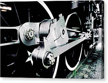 Coupling Rods And Driver Wheels For A Steam Locomotive Canvas Print by Wernher Krutein