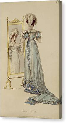 Court Dress, Fashion Plate Canvas Print by English School