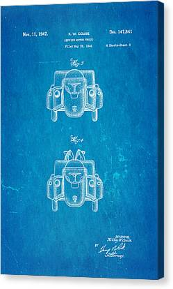 Couse Fire Truck Patent Art 3 1947 Blueprint Canvas Print by Ian Monk