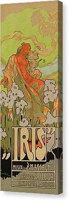 Cover Of Score And Libretto For Iris Canvas Print by Adolfo Hohenstein