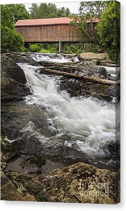 Covered Bridge And Waterfall Canvas Print by Edward Fielding