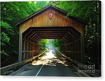 Covered Bridge At Sleeping Bear Dunes National Lakeshore Canvas Print by Terri Gostola