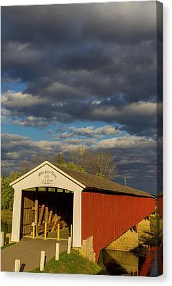 Covered Bridge Over The East Fork Canvas Print by Chuck Haney
