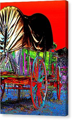 Covered Wagon Pop Art Canvas Print by Phyllis Denton
