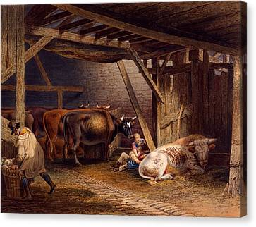 Cow Shed Canvas Print by Robert Hills