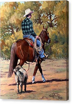 Cowboy And Dog Canvas Print by Randy Follis