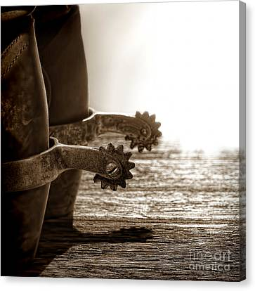 Cowboy Boots And Riding Spurs Canvas Print by Olivier Le Queinec