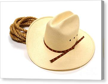 Cowboy Hat And Rope Canvas Print by Olivier Le Queinec