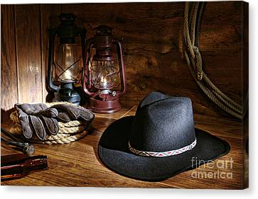 Cowboy Hat And Tools Canvas Print by Olivier Le Queinec