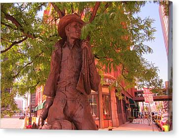Cowboy Statue In Front Of The Brown Palace Hotel In Denver Canvas Print by John Malone