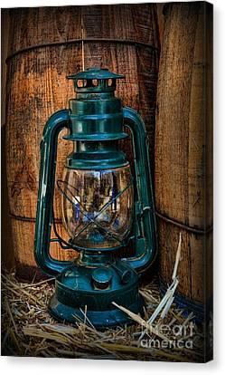 Cowboy Themed Wood Barrels And Lantern Canvas Print by Paul Ward