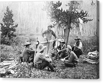 Cowboys Around A Campfire Canvas Print by Underwood Archives