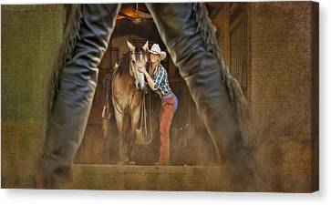 Cowgirl And Cowboy Canvas Print by Susan Candelario