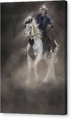 Cowgirl And Knight Canvas Print by Susan Candelario