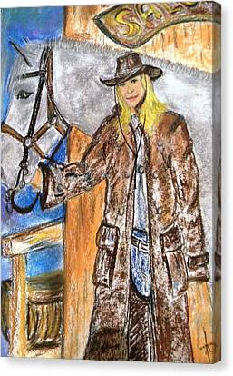Cowgirl Canvas Print by Igor Kotnik