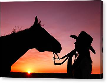 Cowgirl Sunset Canvas Print by Todd Klassy