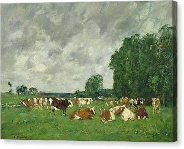 Cows In A Pasture Canvas Print by Eugene Louis Boudin