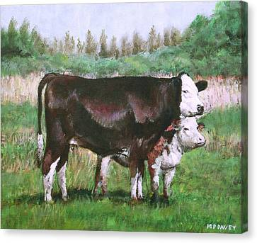 Cows In Field Demo Small Painting Canvas Print by Martin Davey