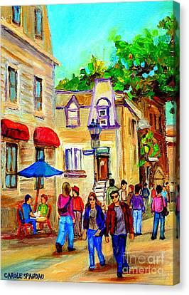Cozy Dinner Under Blue Umbrella Summer Stroll Prince Arthur Montreal Paintings Carole Spandau Canvas Print by Carole Spandau