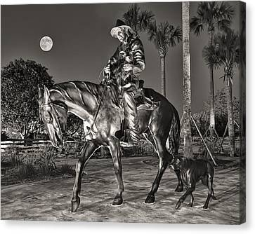 Cracker Cowboy And Full Moon Canvas Print by Betty Eich