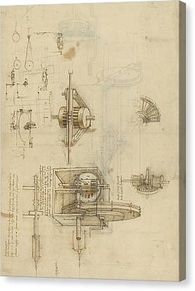 Crank Spinning Machine With Several Details Canvas Print by Leonardo Da Vinci
