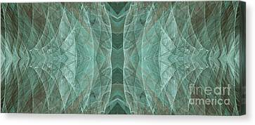 Crashing Waves Of Green 2 - Panorama - Abstract - Fractal Art Canvas Print by Andee Design