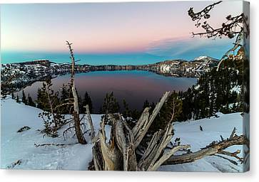 Crater Lake Canvas Print by Mike Ronnebeck