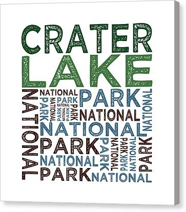 Crater Lake National Park Words Canvas Print by Flo Karp