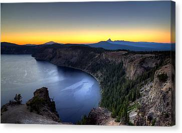Crater Lake Sunset Canvas Print by Mike Ronnebeck