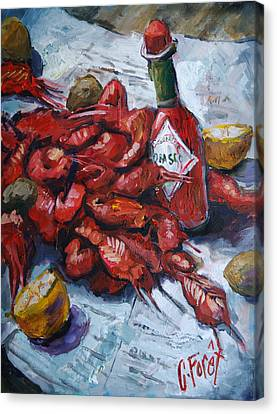 Crawfish Tabasco Canvas Print by Carole Foret